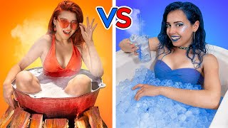 Hot vs Cold Challenge / Girl on Fire vs Icy Girl