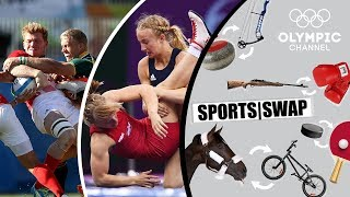 Wrestling vs Rugby 7s - Can They Switch Sports? | Sports Swap Challenge