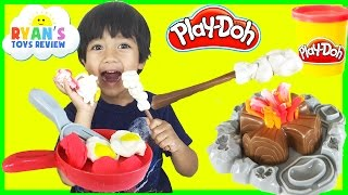 Ryan plays Play Doh Campfire Picnic Playset  toys for kids