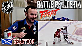 Soccer Fan Reacts to NHL Goalie Fight! Mike Smith vs Cam Talbot | Oilers & Flames in Line Brawl