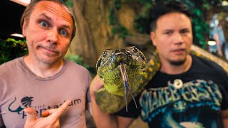MY FRIENDS HOLD MY 20 FOOT SNAKE, HUGE ANACONDA, and ALBINO ALLIGATOR!! | BRIAN BARCZYK