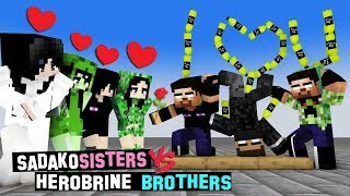 MONSTER SCHOOL :  BOTTLE FLIP CHALLENGE ( SADAKO SISTERS VS HEROBRINE BROTHERS) - FUNNY ANIMATION